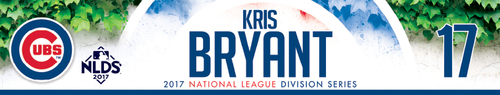 Photo of Kris Bryant Game-Used Locker Nameplate -- NLDS Game 3 -- Nationals vs. Cubs -- 10/9/17