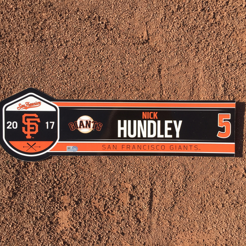 Photo of San Francisco Giants - 2017 Game-Used Regular Season Locker Tag - Nick Hundley