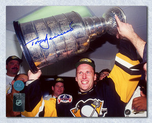 Tom Barrasso Pittsburgh Penguins Autographed Stanley Cup 16x20 Photo