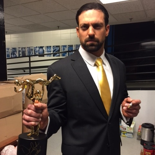 Photo of Damien Mizdow SIGNED Replica Slammy Award