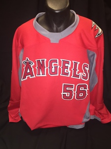 Angels branded hockey jersey worn by #56 Kole Calhoun for Honorary Puck Drop Ceremony on Angels Night at Honda Center