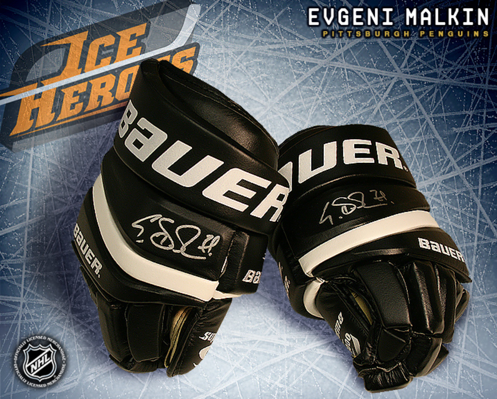 EVGENI MALKIN Signed Pittsburgh Penguins Bauer Model Gloves