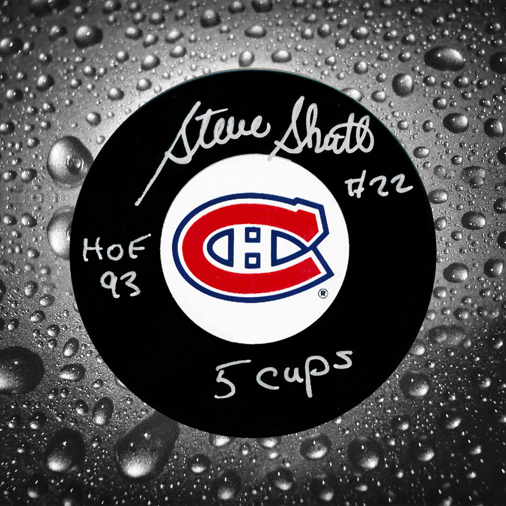 Steve Shutt Montreal Canadiens Autographed Puck w/ HOF & 5 Cups Inscription