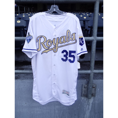 Photo of Eric Hosmer Game-Used Gold Jersey 6/24/16