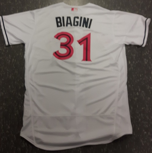 Photo of Authenticated Game Used Mother's Day Jersey (May 14, 2017) - #31 Joe Biagini