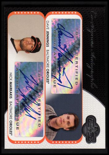 Photo of 2008 Topps Co-Signers Dual Autographs #JM Dave Jennings/Nick Markakis B