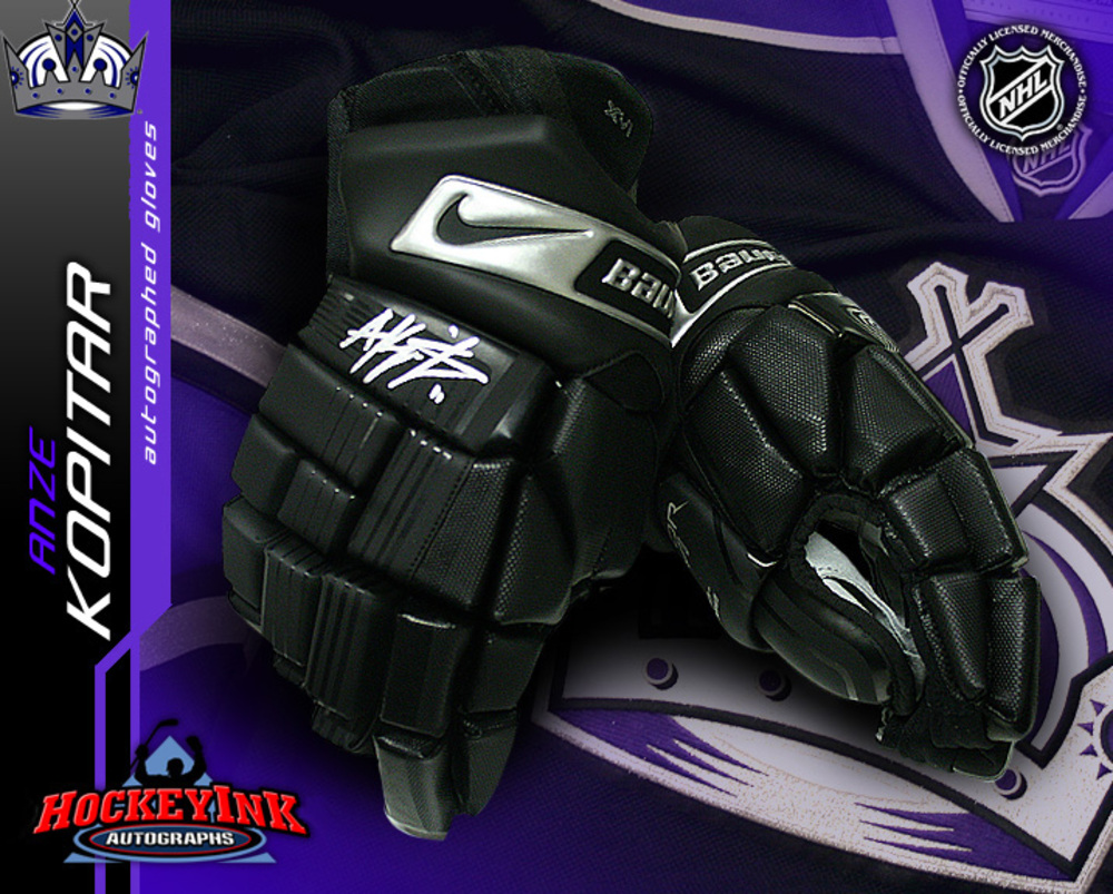 ANZE KOPITAR Signed Los Angeles Kings Nike Player Model Gloves