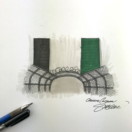 Photo of Daily Sketch - 30 Ballparks in 30 Days: Oakland Coliseum Original Inked Illustration by S. Preston