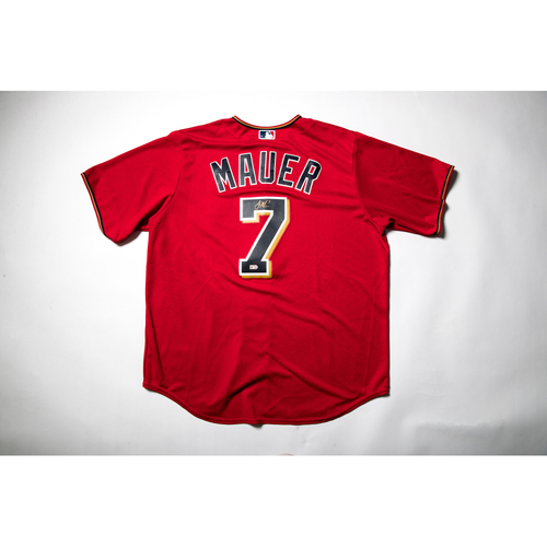 Photo of Home Red Autographed Replica Jersey - Joe Mauer Size XL