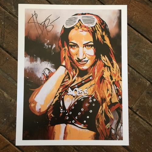 """Photo of Sasha Banks SIGNED 11"""" x 14"""" Rob Schamberger Print"""