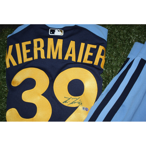 Photo of Kevin Kiermaier Game Worn and Autographed Jersey from Turn Back the Clock Night