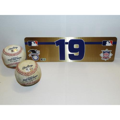 Photo of Jose Bautista Game-Used Baseballs (2) and #19 Visiting Name Plate
