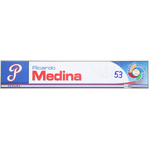 Photo of 2006 Inaugural World Baseball Classic: Ricardo Medina Locker Tag (PAN) Game-Used Locker Name Plate