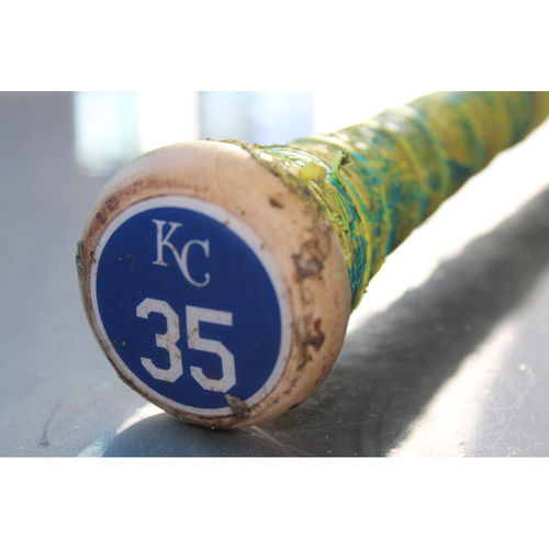 Photo of Team-Issued Bat: Mike Moustakas with #35 on the Knob
