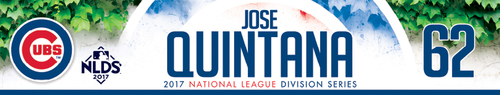 Photo of Jose Quintana Game-Used Locker Nameplate -- NLDS Game 3 -- Nationals vs. Cubs -- 10/9/17