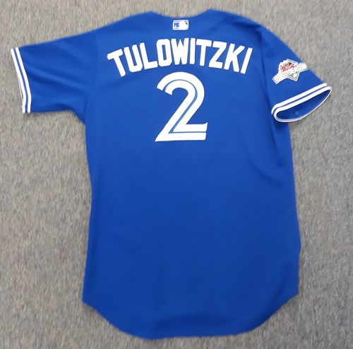 Photo of Authenticated Game Used Postseason Jersey - #2 Troy Tulowitzki (October 14, 2015: ALDS Game 5). Tulowitzki went 0-for-4. Size 46.