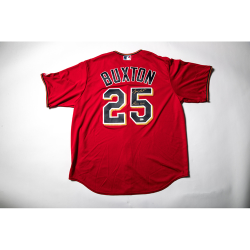 Photo of Home Red Autographed Replica Jersey - Byron Buxton Size XL