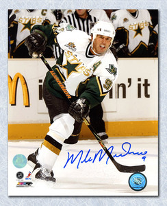 Mike Modano Dallas Stars Autographed 2007 All Star Patch 8x10 Photo