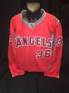 Angels branded hockey jersey autographed by #36 Jered Weaver