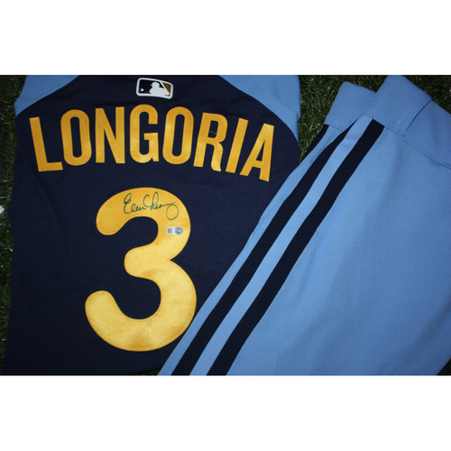 Photo of Evan Longoria Game Worn and Autographed Jersey from Turn Back the Clock Night