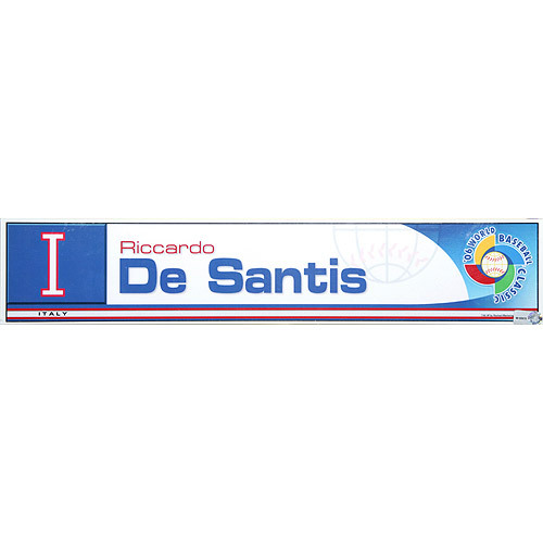 Photo of 2006 Inaugural World Baseball Classic: Riccardo De Santis Locker Tag (ITA) Game-Used Locker Name Plate