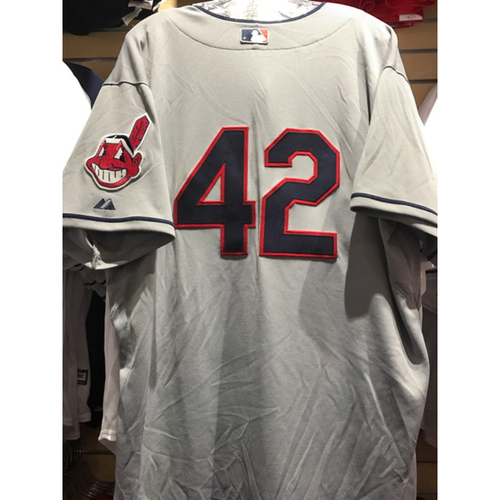 Photo of Carlos Carrasco Game-Used 2014 Jackie Robinson Day Jersey