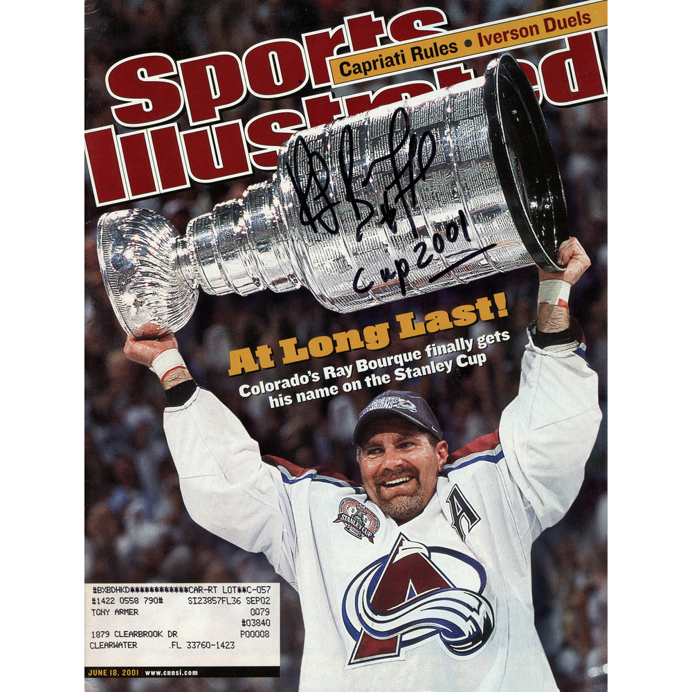 Ray Bourque Colorado Avalanche Autographed Sports Illustrated Magazine with Cup 2001 Inscription