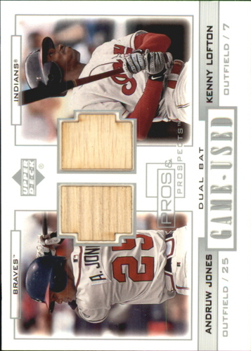 Photo of 2001 Upper Deck Pros and Prospects Game-Used Dual Bat #PPJL Andruw Jones/Kenny Lofton