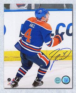 Taylor Hall Edmonton Oilers Autographed Reverse Angle Celebration 8x10 Photo