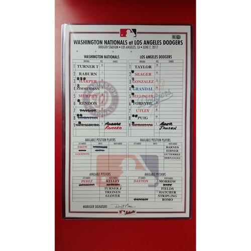 Photo of Line up Card: June 7, 2017 - Strasburg vs. Kershaw