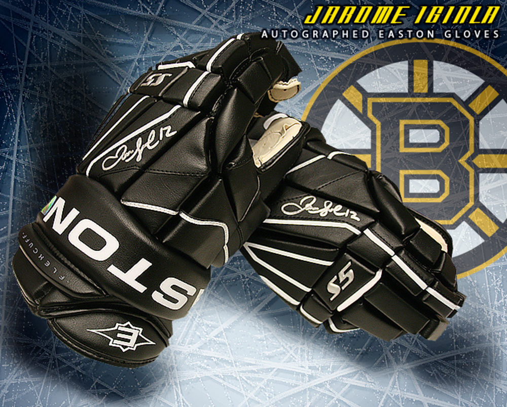 JAROME IGINLA Signed Boston Bruins Easton Model Gloves