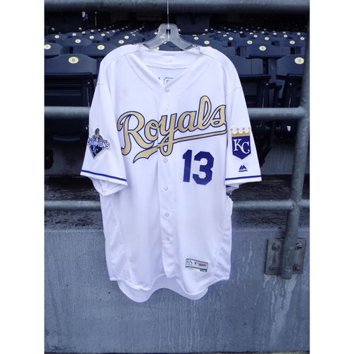 Photo of Salvador Perez Game-Used Gold Jersey 6/17/16