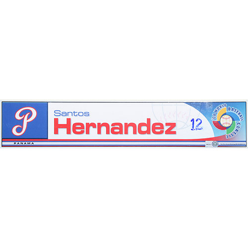 Photo of 2006 Inaugural World Baseball Classic: Santos Hernandez Locker Tag (PAN) Game-Used Locker Name Plate