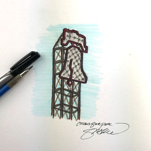 Photo of Daily Sketch - 30 Ballparks in 30 Days: Citizens Bank Park Original Inked Illustration by S. Preston