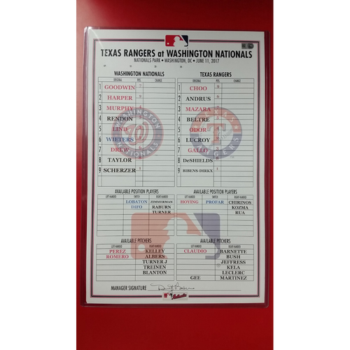 Photo of Clubhouse Line up Card: June 11, 2017 - Scherzer 2000th Strikeout Game