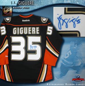 J.S. GIGUERE Signed Anaheim Ducks Alternate Black Reebok Jersey