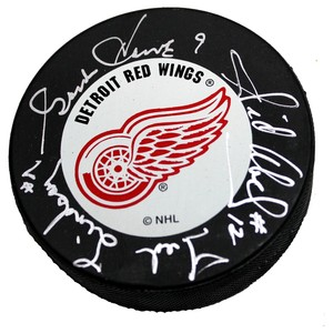 Gordie Howe, Ted Lindsay and Sid Abel Autographed Detroit Red Wings Puck