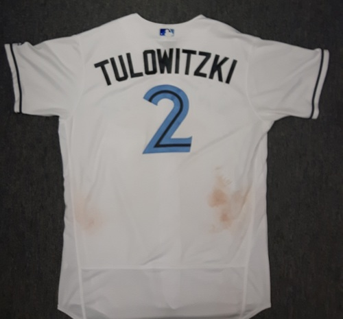 Photo of Authenticated Game Used Father's Day Jersey - #2 Troy Tulowitzki (June 18, 2017). Tulowitzki went 2-for-4 with 2 runs