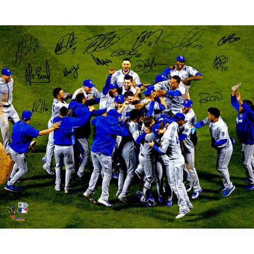 "Photo of Kansas City Royals 2015 MLB W.S Champions Autographed 16"" x 20"" W.S Celebration Photograph with 14 Signatures - #1 In a Limited Edition #of 50"