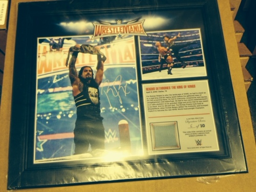 Photo of Roman Reigns SIGNED WrestleMania 32 15 x 17 Framed Ring Canvas Photo Collage