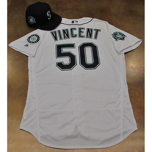 Photo of Nick Vincent White Home Game-Used Jersey & Cap With Edgar Martinez Patch Worn 8-12-2017