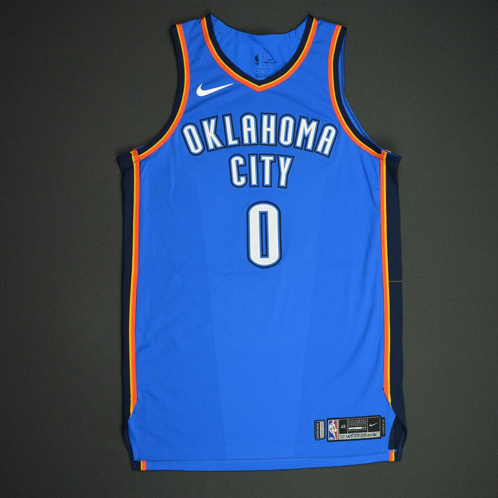 Russell Westbrook - Oklahoma City Thunder - NBA Mexico City Games 2017 Game-Worn Jersey - 2nd Half Only