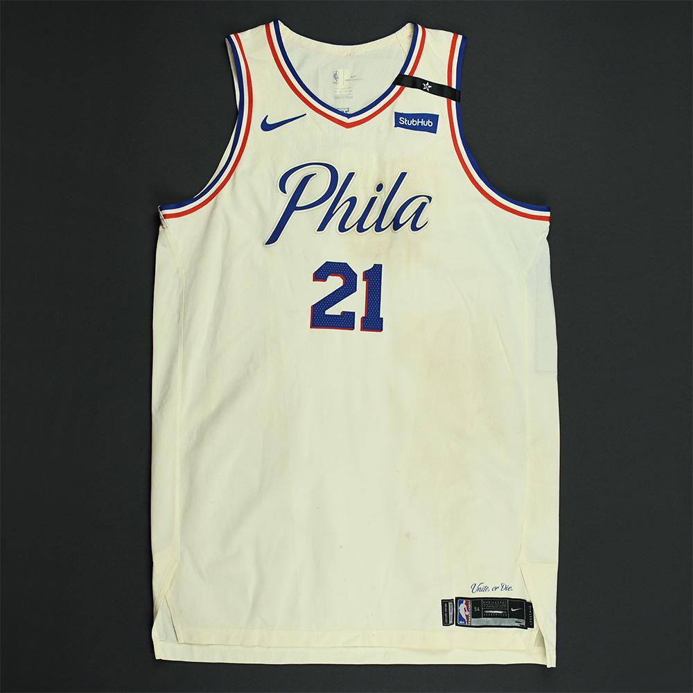 Joel Embiid - Philadelphia 76ers - 2018 NBA Playoffs Game-Worn 2nd Half Only City Jersey - Double-Double
