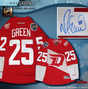 MIKE GREEN Signed Detroit Red Wings Stadium Series 2016 Red Reebok Jersey