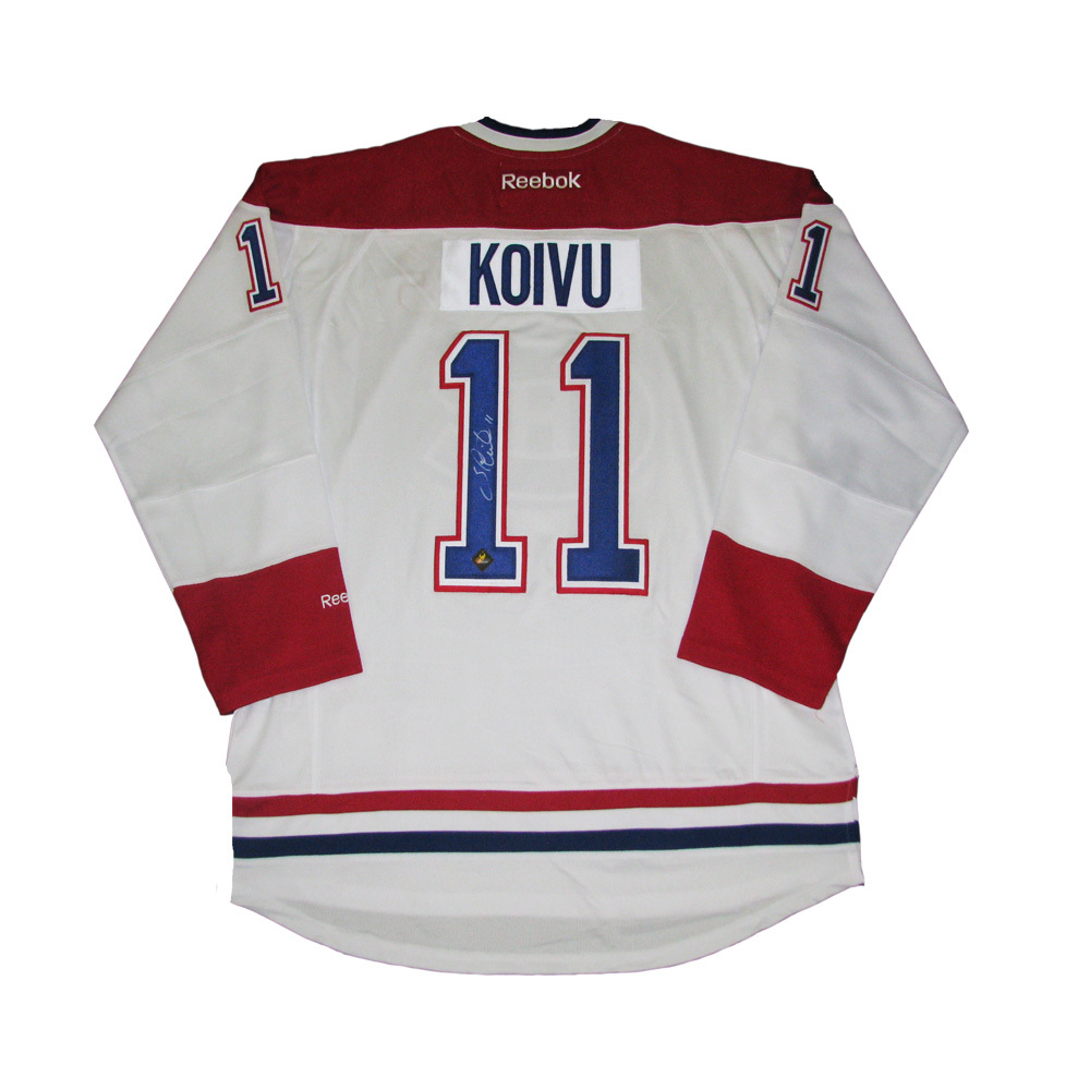SAKU KOIVU Signed Montreal Canadiens White Reebok Jersey