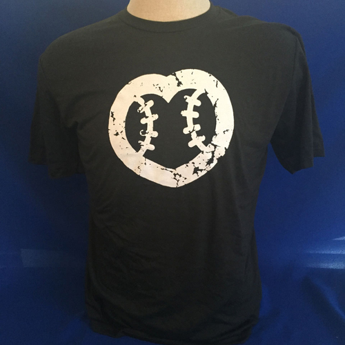 Photo of UMPS CARE AUCTION: UMPS CARE Baseball Heart Logo Men's T-Shirt, Black with White Heart, Size 3XL