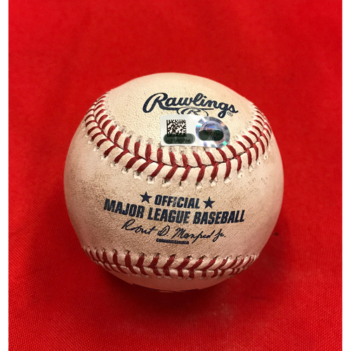 Photo of Bronson Arroyo -- Game-Used Baseball -- Used During Arroyo's Final Pinch-Hit Appearance of His Career -- Arroyo's Final Major League Season -- Reds vs. Braves on June 3, 2017