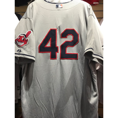 Photo of Zach McAllister Game-Used 2014 Jackie Robinson Day Jersey (W, 6 IP, 4 H, 1 ER, 4 K's)