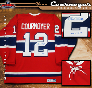 YVAN COURNOYER Signed Montreal Canadiens Red CCM Vintage Jersey