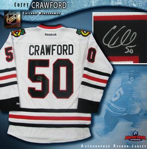 COREY CRAWFORD Signed Chicago Blackhawks White Reebok Jersey